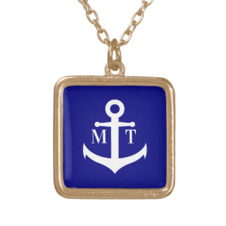 Custom Monogram Anchor Gold Plated Necklace