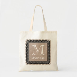 Custom Monogram and Name Burlap Lace V02A Bag