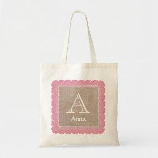 Custom Monogram and Name Burlap Lace V02D Bags