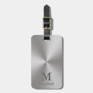 Custom Monogram and Name on Silver Metal Look Luggage Tag