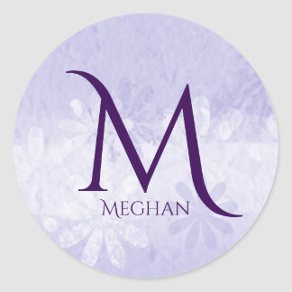 Custom Monogram and Name Purple and White Sticker