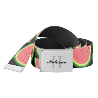 Custom monogram and watermelon pattern canvas belt