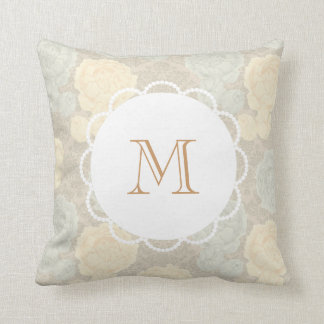 Custom Monogram Antique Vintage Floral Cushion