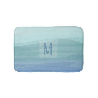 Custom Monogram Aqua Watercolor Waves Bath Mat