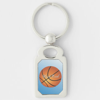Custom Monogram Basketball Create your Own Silver-Colored Rectangle Key Ring