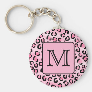 Custom Monogram. Black and Pink Leopard Print. Basic Round Button Key Ring