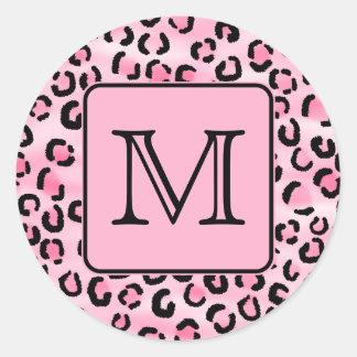 Custom Monogram. Black and Pink Leopard Print. Round Sticker