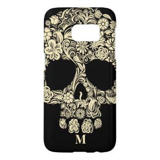 Custom Monogram Black and White Floral Sugar Skull