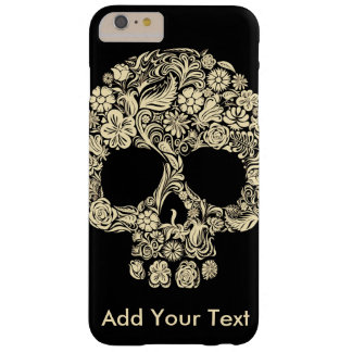 Custom Monogram Black and White Floral Sugar Skull Barely There iPhone 6 Plus Case