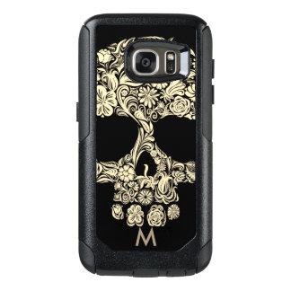 Custom Monogram Black and White Floral Sugar Skull OtterBox Samsung Galaxy S7 Case