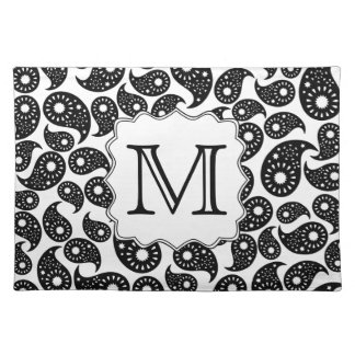 Custom Monogram. Black and White Paisley Pattern. Placemat