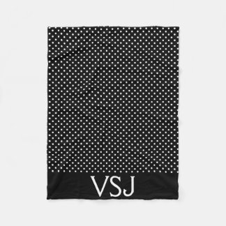 Custom Monogram Black and White Polka Dot Blanket