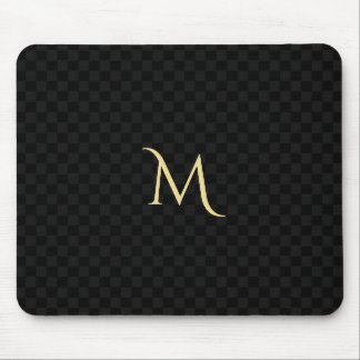 Custom Monogram Black Check Pattern Home Office Mouse Pad