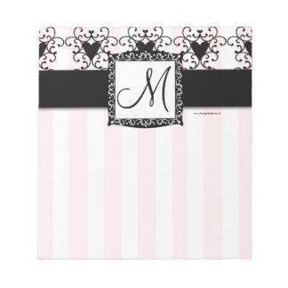 Custom Monogram Black Hearts Pink Stripes Notepad