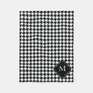 Custom Monogram Black & White Houndstooth Pattern Fleece Blanket