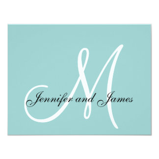 Custom Monogram Blue White Wedding RSVP Card 11 Cm X 14 Cm Invitation Card