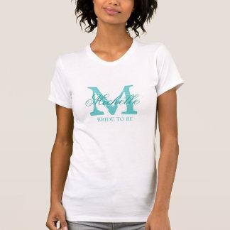 Custom monogram bride to be t shirt | turquoise tee shirts