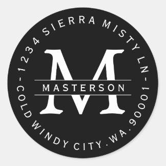 Custom Monogram BW Circular Return Address Label Round Sticker