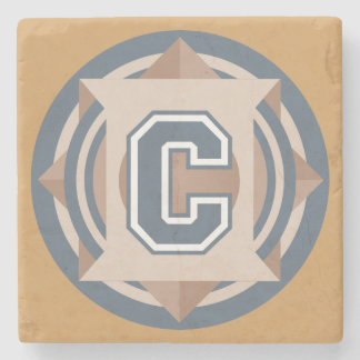 """Custom Monogram """"C"""" Initial Stone Beverage Coaster"""