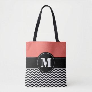 Custom Monogram Chevron Coral Tote Bag