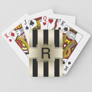 Custom Monogram | Chic Black Gold Stripes Pattern Playing Cards