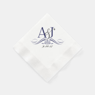 Custom Monogram Coined Luncheon Napkin Disposable Napkins
