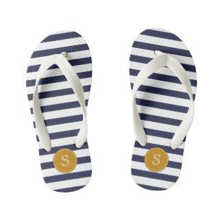 Custom Monogram Cool Navy Blue Stripes Thongs