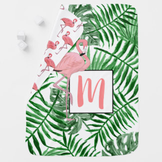 Custom Monogram Cute Pink Flamingo Watercolor Baby Blanket