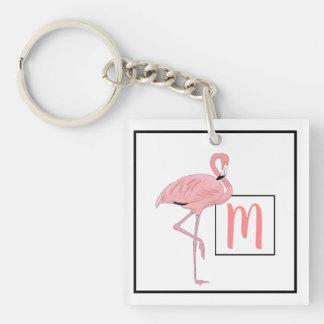 Custom Monogram Cute Pink Flamingo Watercolor Key Ring