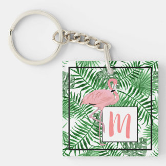 Custom Monogram Cute Pink Flamingo Watercolor Key Ring