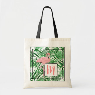 Custom Monogram Cute Pink Flamingo Watercolor Tote Bag