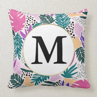 Custom Monogram Cutting Shapes Tropical Cushion
