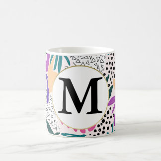 Custom Monogram Cutting Shapes Tropical Mug