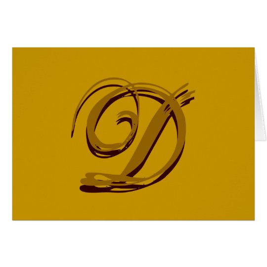 "Custom Monogram ""D"" Card Brown and Gold"
