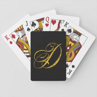 Custom Monogram D Faux Gold Foil Monograms Initial Playing Cards