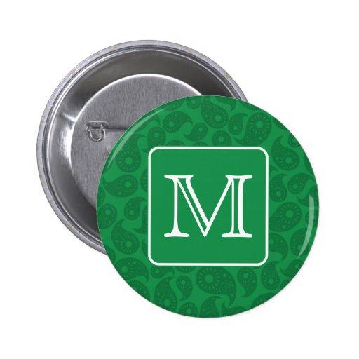 Custom Monogram. Dark Green Paisley Pattern. Pinback Buttons