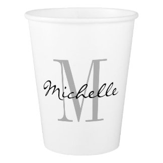 Custom monogram disposable throw away paper cups