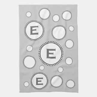 Custom Monogram E or Any Initial SILVER Circles Tea Towel