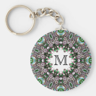 Custom Monogram - Emerald Gems - Keychain