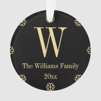 Custom Monogram Family Black Faux Gold Christmas Ornament