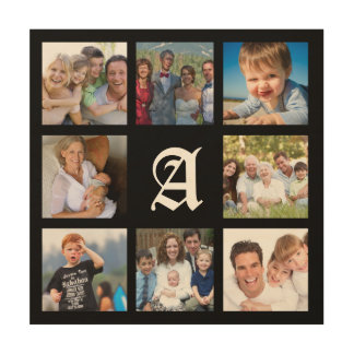 Custom Monogram Family Photo Collage Canvas Wood Wall Art