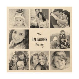 Custom Monogram Family Photo Collage Print on Wood