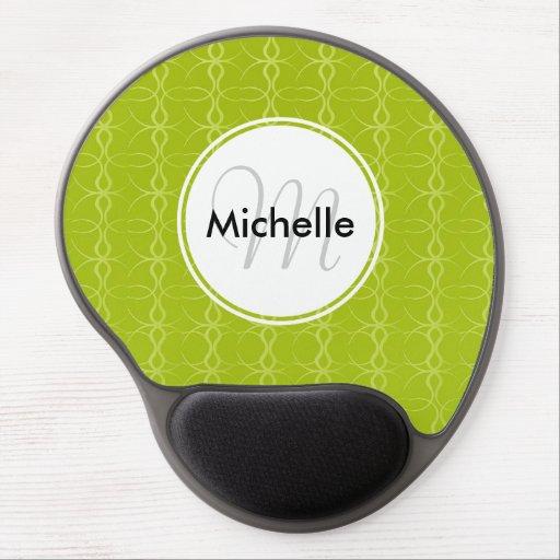 Custom Monogram Fancy Lime Green Vintage Pattern Gel Mousepads