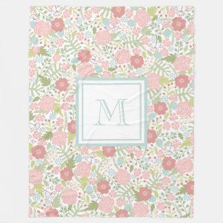 Custom Monogram Fleece Blanket Floral Pastel Cozy
