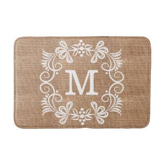 Custom Monogram Floral Frame Rustic Burlap Bath Mat