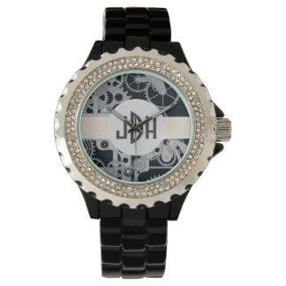 Custom Monogram Geared Up Black Enamel Watch