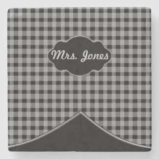 Custom Monogram Gingham Black Grey Marble Coaster