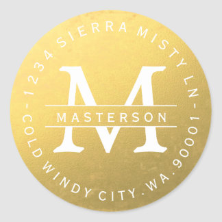 Custom Monogram Gold Circular Return Address Label Round Sticker