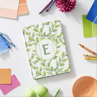 Custom Monogram Green Leaves White iPad Pro Cover