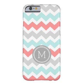 Custom Monogram Grey Coral Aqua Chevron Barely There iPhone 6 Case